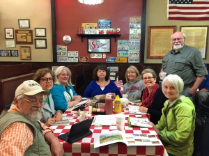 John Dillingham, Vicki Fisher, Julie Hayes, Cindy Ho, Sherry Portman, Laquita Phillips, Leslie Newman, with Carl Judson at The Station Cafe, Bentonville, AR